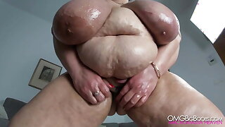 Russian mom with huge tits, belly and fat pussy