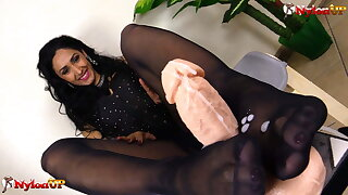 Mistress Alexya pantyhose and stockings footjob compilation