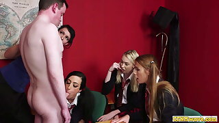 Cockhungry CFNM schoolgirls sucking lucky man