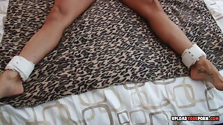 Tied-up MILF moans while Im toying her