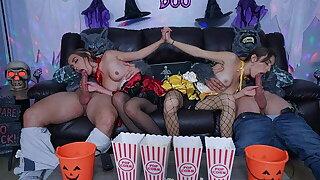 Best Friends Swap Daddies During Halloween Movie Night