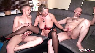 German Aunt in Taboo Threesome with Cousin and Husband