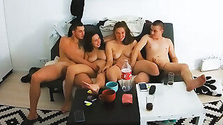 Young Real Swinger Couples Embark Foursome Group Action