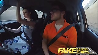 Fake Driving School Posh freaky redhead with big tits and ginger bush fucks