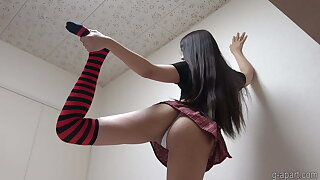 Japanese Chick Himari Shows Cameltoe in a Miniskirt and Tight Panties
