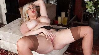 Buxom blonde secretary frigs hard in nylons and high heels