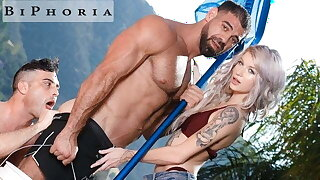 BiPhoria - Wifey Catches Husband Fucking The Pool Boy