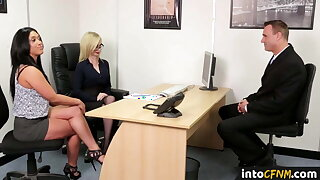 Dominating cfnm babes team up and blow cock