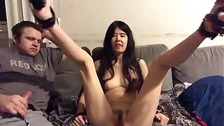 Asian Teen makes her Cuck boyfriend clean up her pussy after a 10 guy creampie gangbang