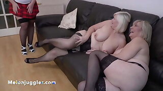 Young girl with a fat backside fucks two mature busty dykes