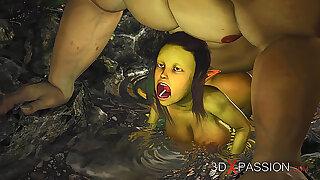 Extreme monster Ogre fucks Super hot dame Goblin hard outdoors