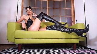Goddess Rosie Reed Leather Fetish Boot Fetish Dark-hued Domme