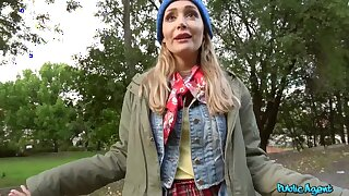 Whorish Russian girl in milky stockings fucks stranger outdoors