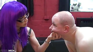 Torture for a slave with German mistress in boots