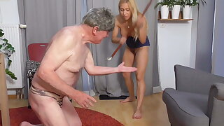 no mercy, queen Nicole spank grandpa's finger hard