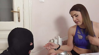 PEDICURE-SOUP FEEDING FOR DOGGY SLAVE!