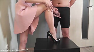 Cum on black high heel and cum play (trailer)