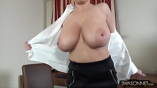 Ewa Sonnet - very mature secretary takes off her blouse in the office