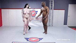 Mixed Grappling Fight with Amilia Onyx battling Will Tile and sucking that big black dick
