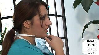 CFNM babes masturbate little black dick at the dentist