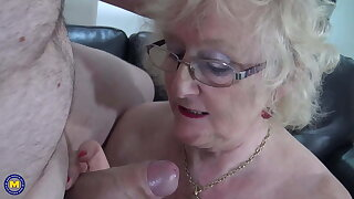 Messy granny sucks and fucks young big trunk