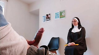 I take out my cock in front of this religious damsel in the waiting room