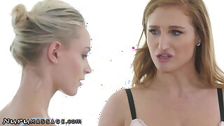 Emma Hix Attempts Threesome Rubdown With Cum-Swapping