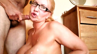 Phat tit milf sucks the cock and takes the cum