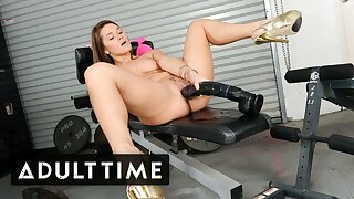 She Has Hard Solo Gym Instructing With Meaty Dildos And Vibrator