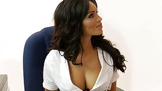 Buxomy brunettes get boned by two guys in a store
