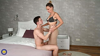 Taboo sex with hairy mature wifey and boy