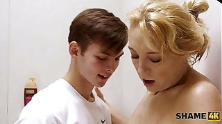 SHAME4K. Boy lets moms sexy girlfriend take a shower at his place