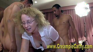 Her 1st Internal ejaculation Orgy