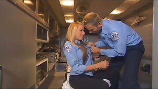 Uniformed honey fucking in the back of an ambulance