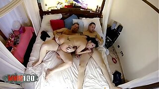 Big tit and round ass latina picked up in the street and porked by 2 guys