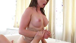 MOM Big tits brunette Aussie Milf takes big cock before drizzling orgasm