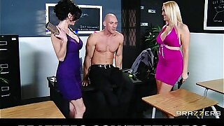 Pair of slutty girlfriends determine to share big-dick in a threesome