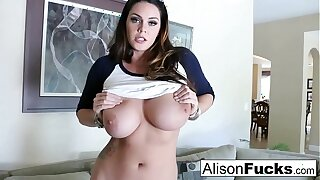 Big Titty Alison Tyler rubs her giant knockers before pleasuring herself