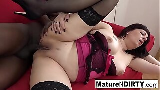 Brunette mature in tights is anally addicted to Big black cock