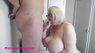 Huge tits Mature Sally turns a soft cock rock hard
