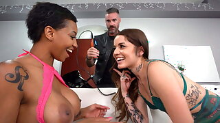 Dark-hued September Reign Tries Vanessa Vega's Boyfriend's Cock